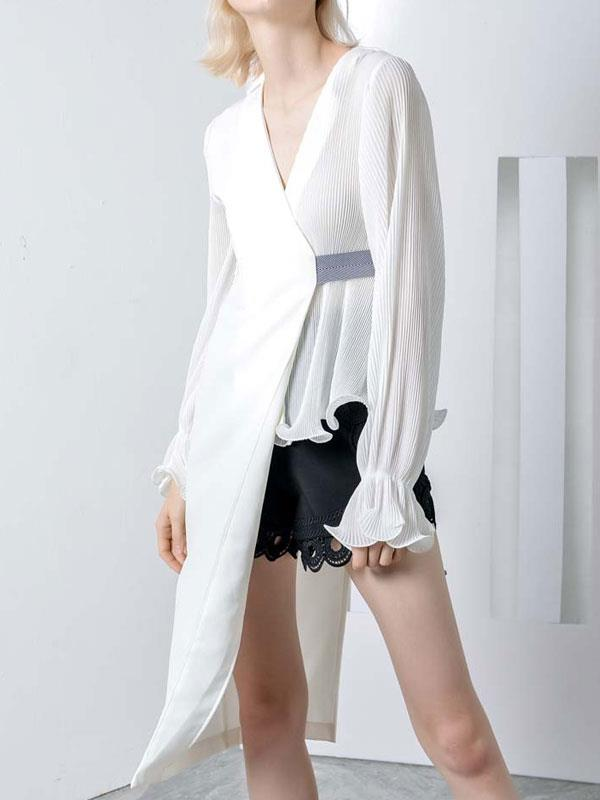 Coat with Lantern Sleeve Chiffon Splicing Thin Loose