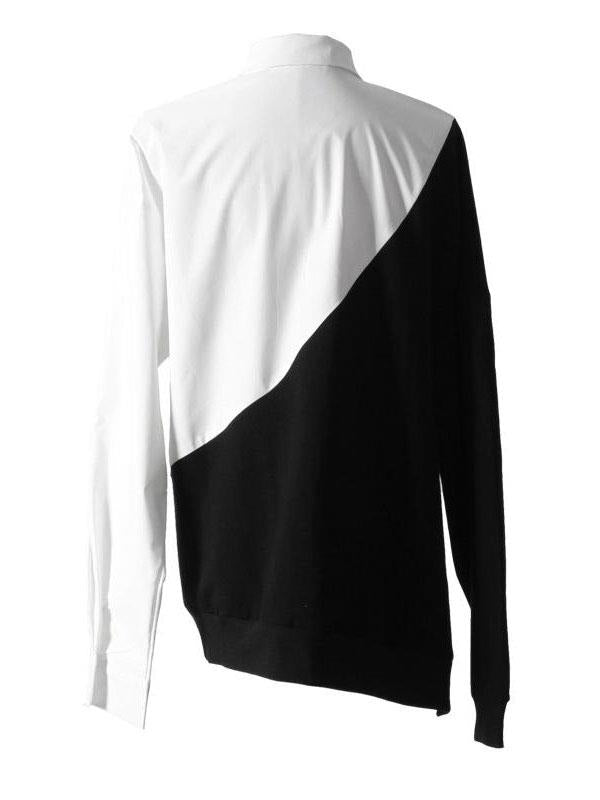 Contrast Loose Long Sleeve Polo Tops