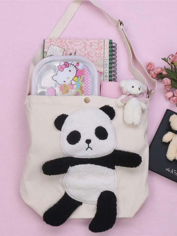 Panda Furry Embroidered Letters Canvas Shoulder Bag