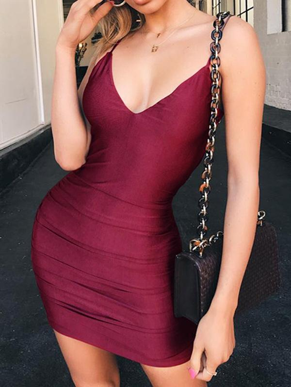 3 Colors Spaghetti Strap Cut Out Mini Dress