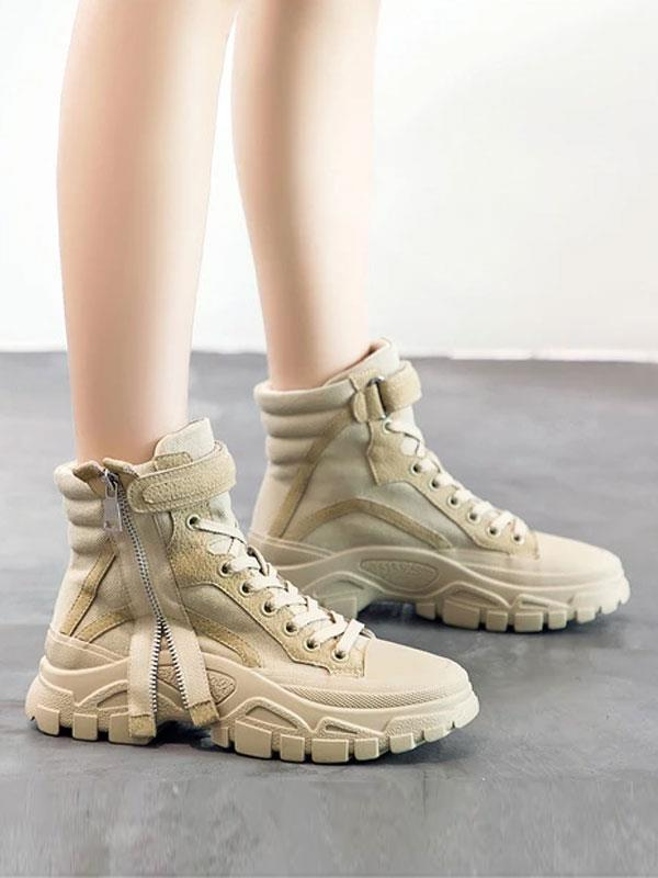 Fashion Mid High Zip Sneakers
