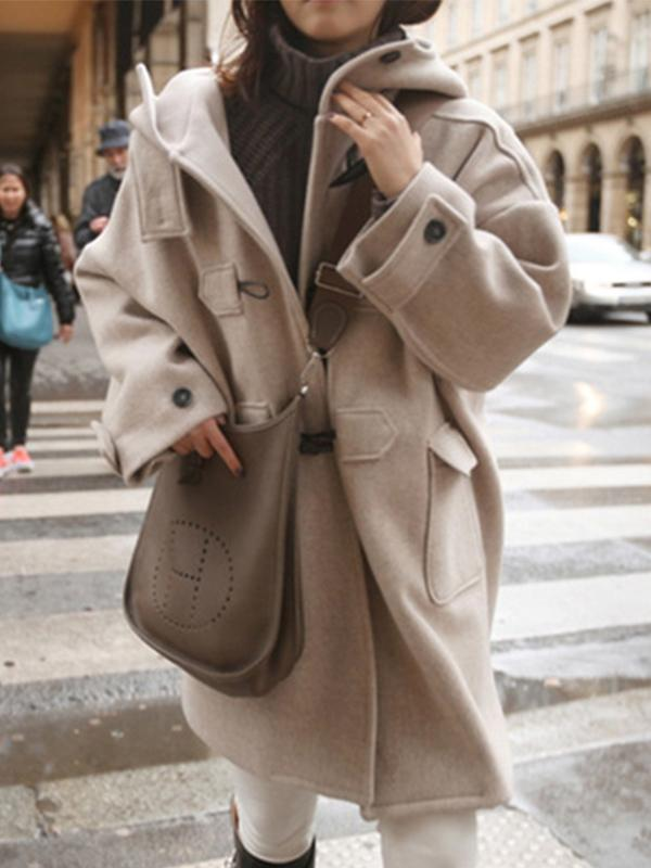 Women's Fashion Mid-Length Hooded Pockets Thick Trench Coat