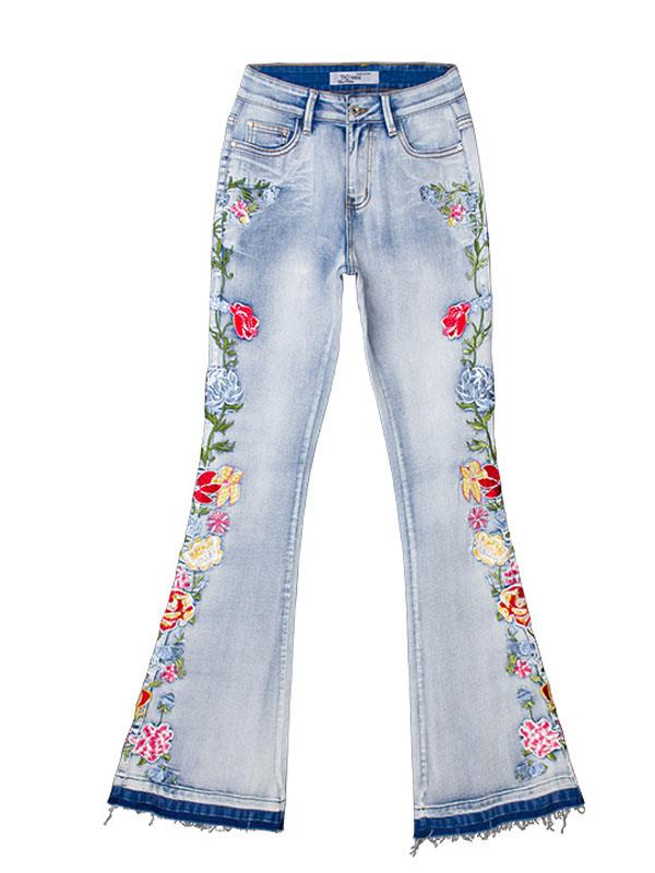 Steric Embroidered Bell-bottoms Jeans Pants