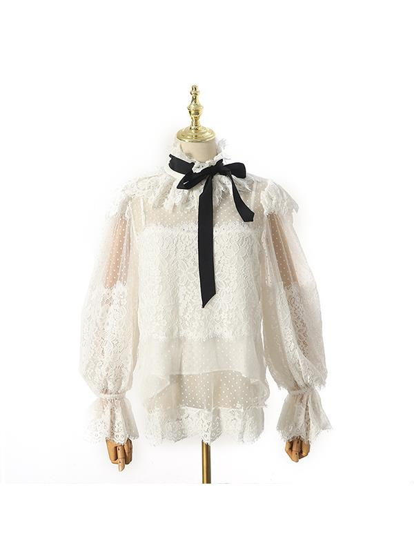 Fashion Stand collar Bowknot Split-joint Lace See-through Shirt