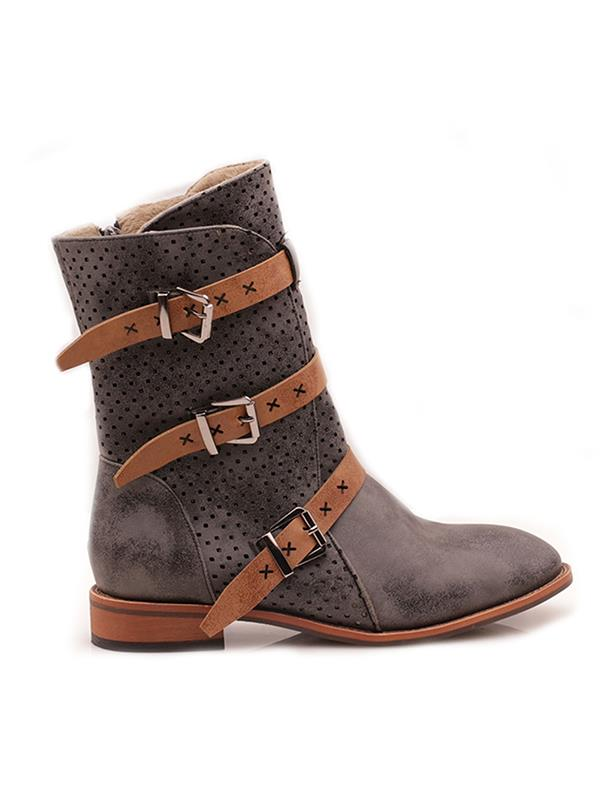 Hollow Buckle Flat Leather Boots