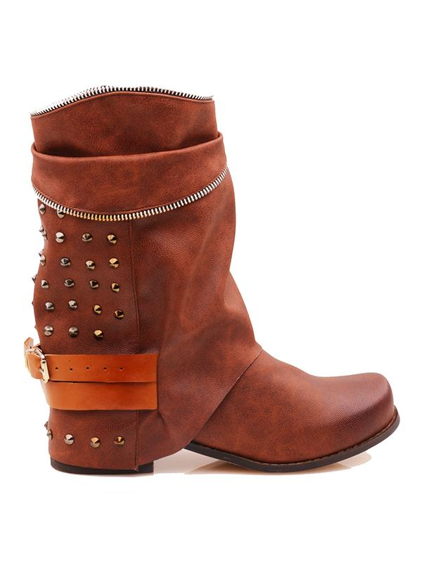 Rivet Zipper Buckle Split-joint Boots