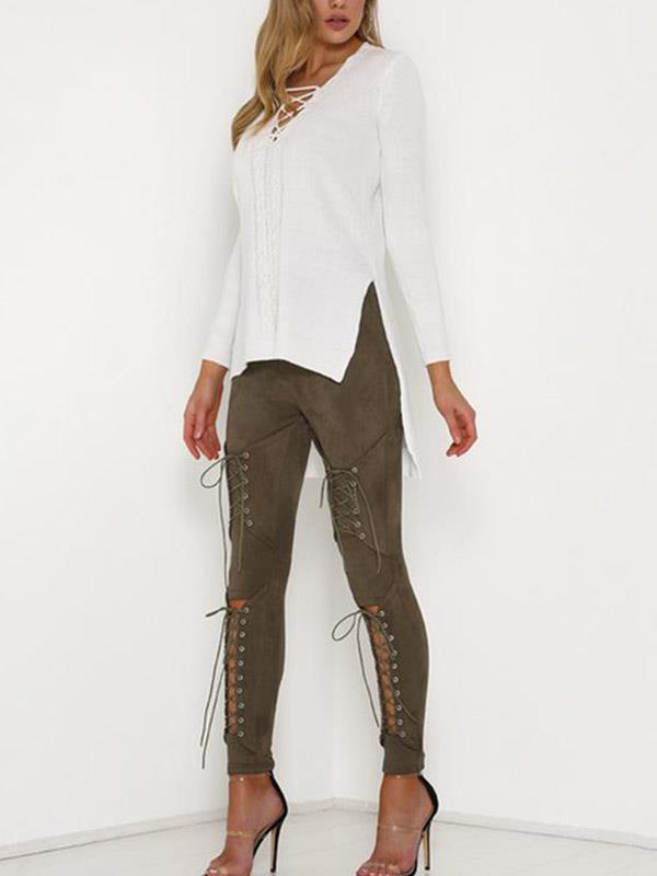 Casual Pants Bottom with Hollow Bandage Long