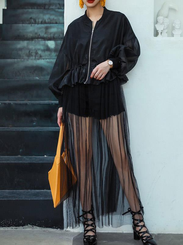 Maxi Dress with Long Lace See Through Zipper Jacket
