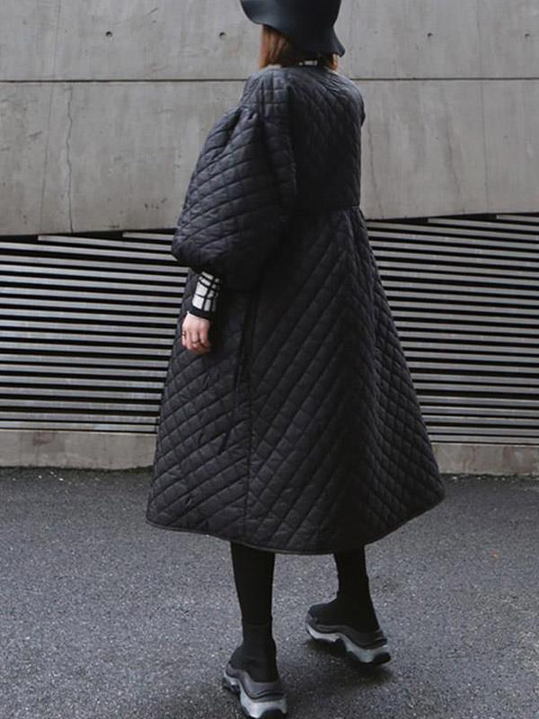 Overcoat with Vintage Long Sleeve Puss Sleeve Long Padded Jacket