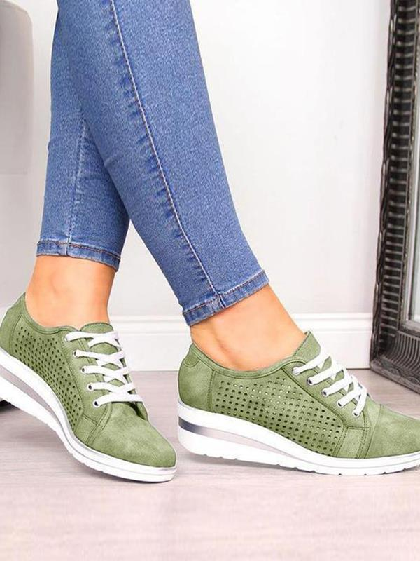 Casual Wedge Heel Hollow Lace up Sports Shoes