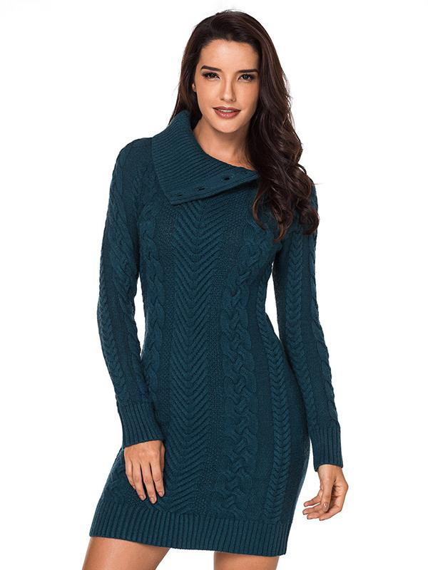 Solid Lapel Knitted Slim Sweater Dress