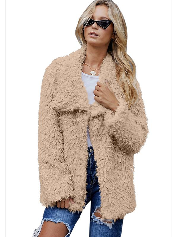 Thicker Lapel Long Sleeves Velcet Cardigan Jacket
