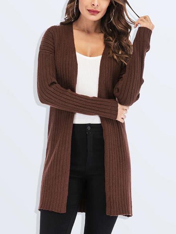 Plus Size Solid Knitted Cardigan Sweater Coat