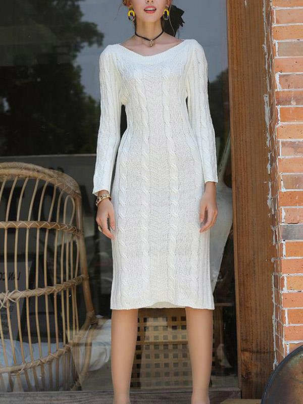 Solid One Shoulder Knitted Slim Fitted Sweater Dress