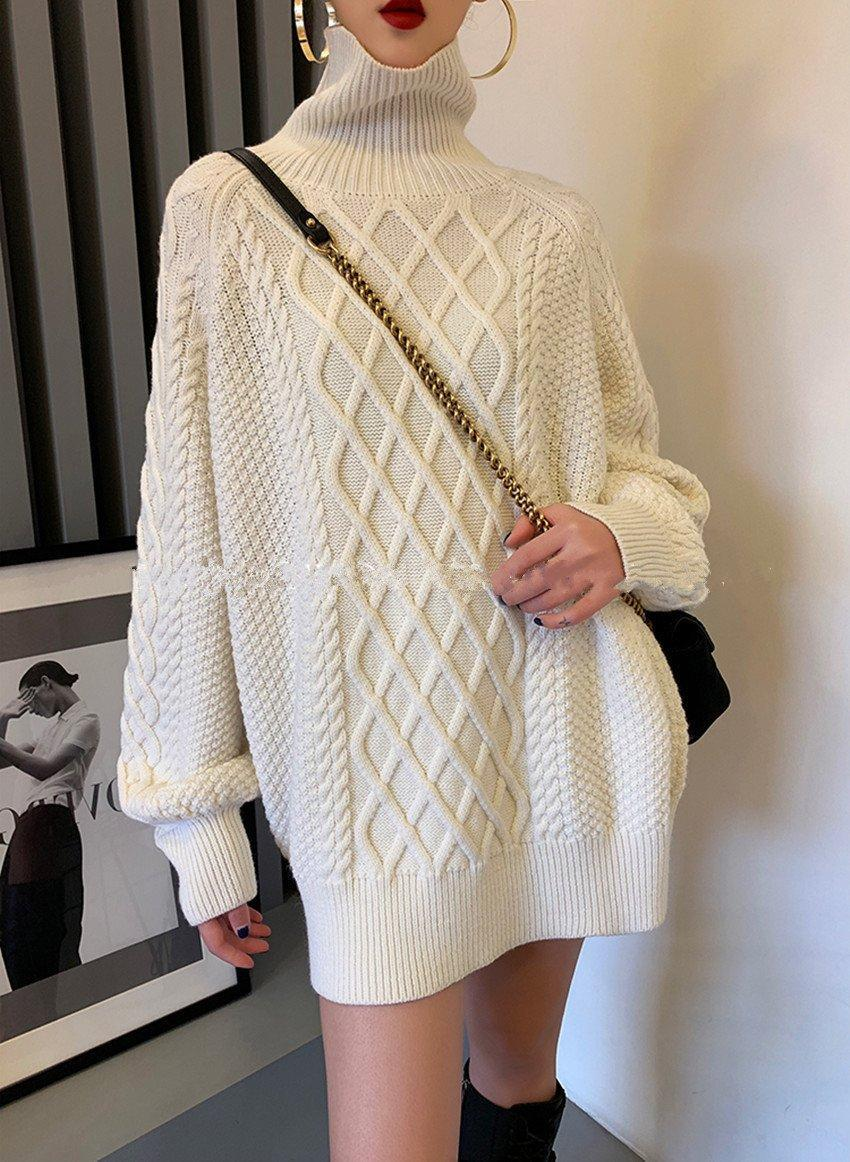 Sweater with High Collar Pullover White Wool