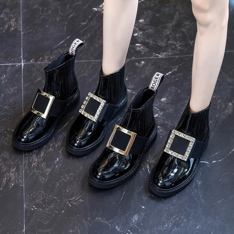 Patent leather diamond square button Martin boots
