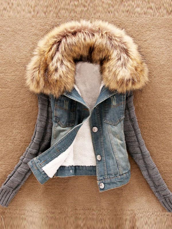 Fur Collar Wool Sleeves Denim Short Jacket
