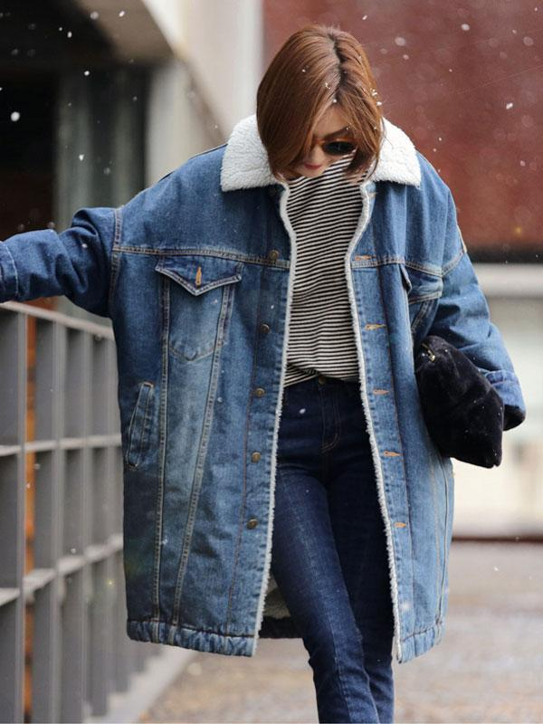 Velvet Denim Jacket Thick Long Coat
