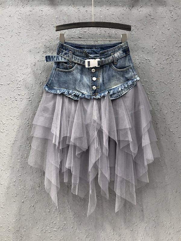 Mesh High Waist Slim Denim Skirt