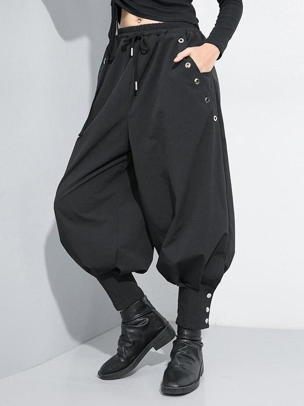 Black Casual Studded Bloomers Pants