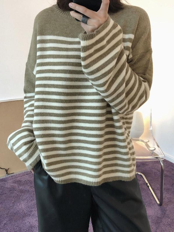 Striped Sweater Loose-knit Top