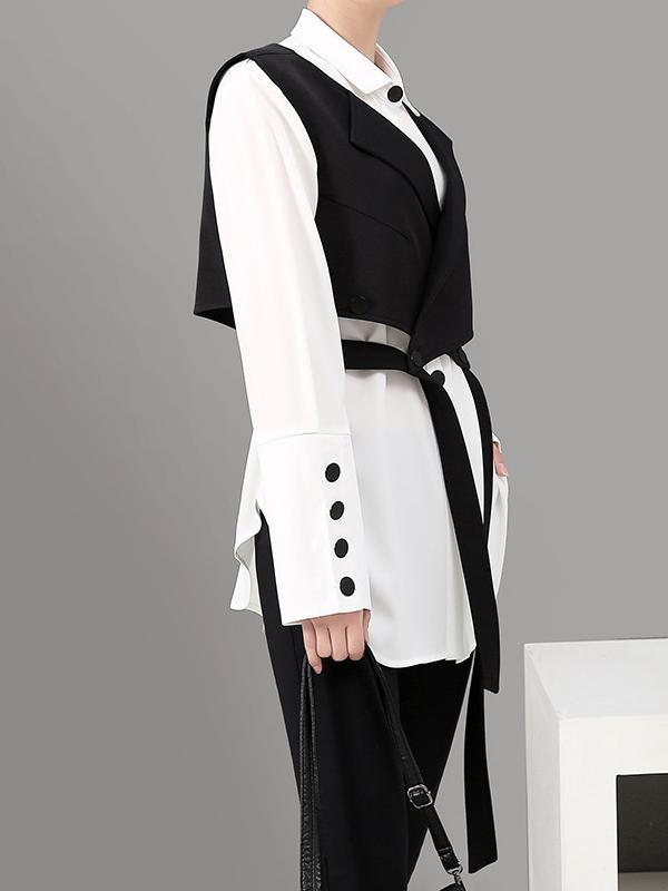 Simple Long-sleeved Shirt Vest Suit