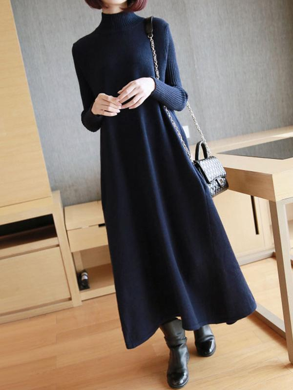 Plus Size Knitting Maxi Dress