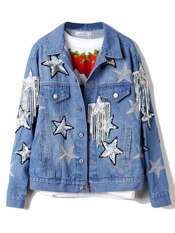 Shiny Embroidered Sequin Beaded Fringed Denim Jacket