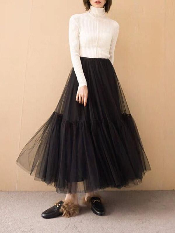 Bouffancy Lace Tutu Solid Color Skirt