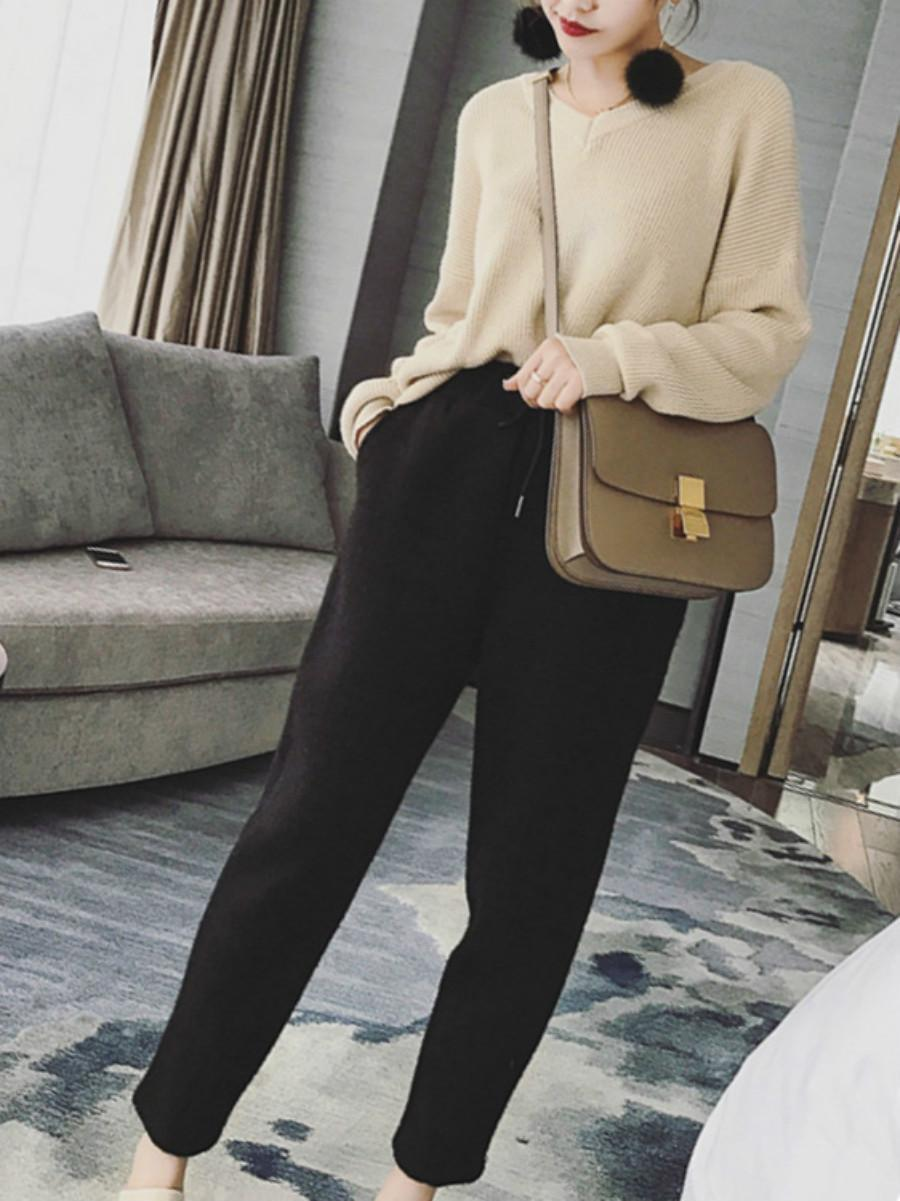 Long Sleeves Bow V Neck Women's Knitwear