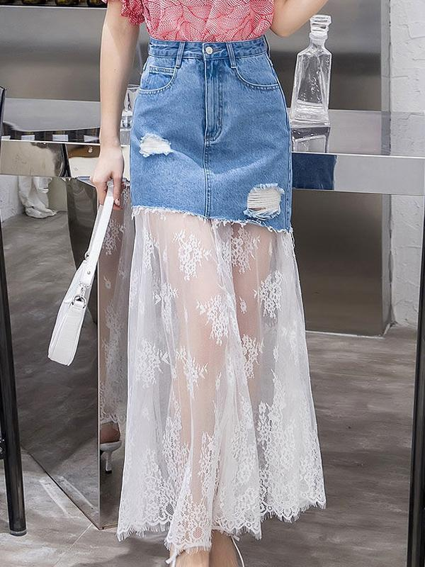 Women Skirts with Lace and Denim Mixed Midi Length