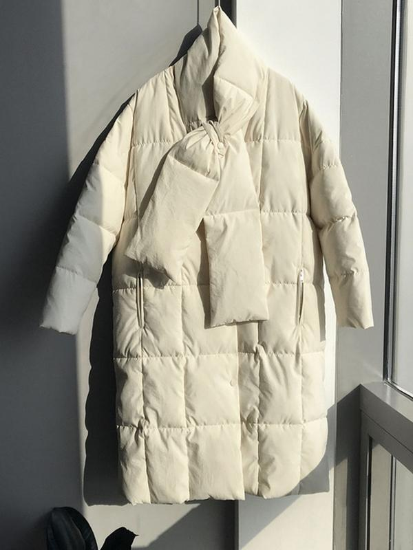 Loose Oversize Quilted Jacket With Scarf