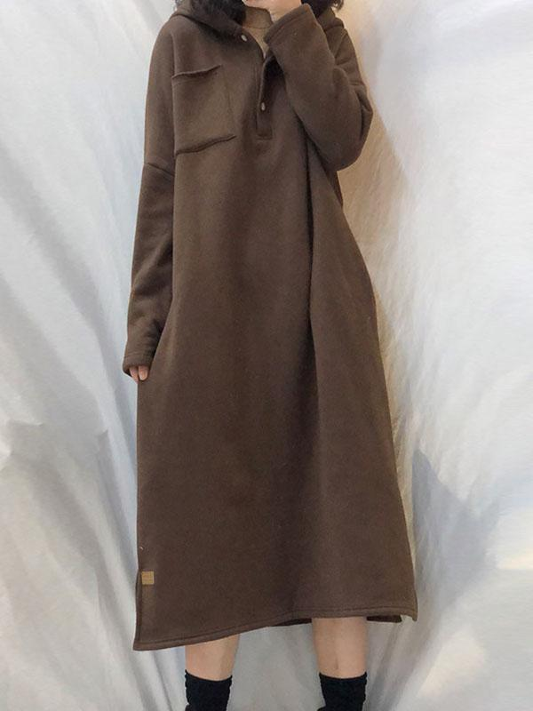 Cotton Plus Fleece Long Hooded Dress