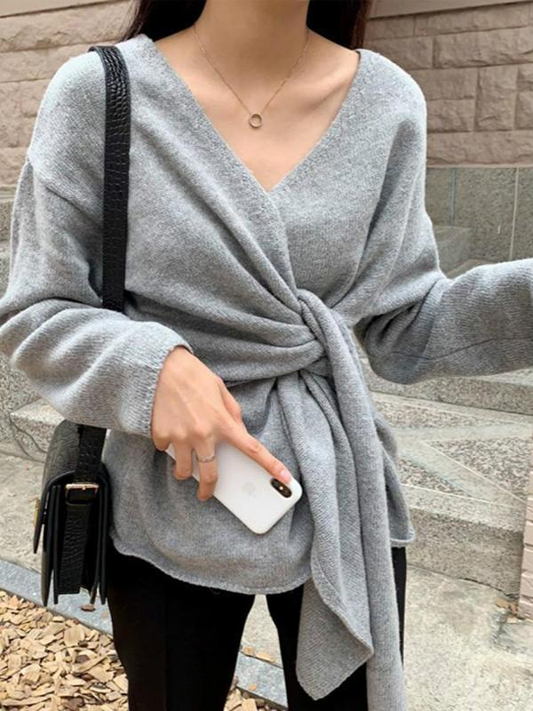 Knitwear Knot Long Sleeves Women's Top