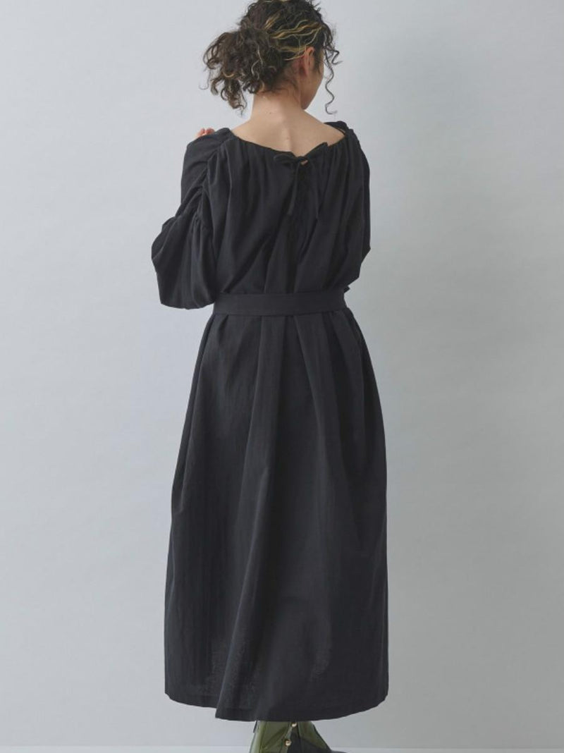 Long Loose Back Bow V Neck Lantern Sleeves Women's Dress