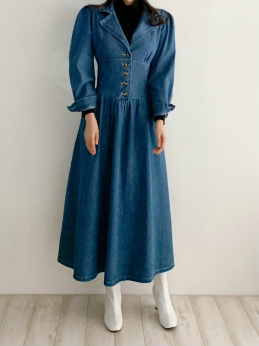 Retro Denim Korean Long Lapel Elastic Wait  Women's Dress