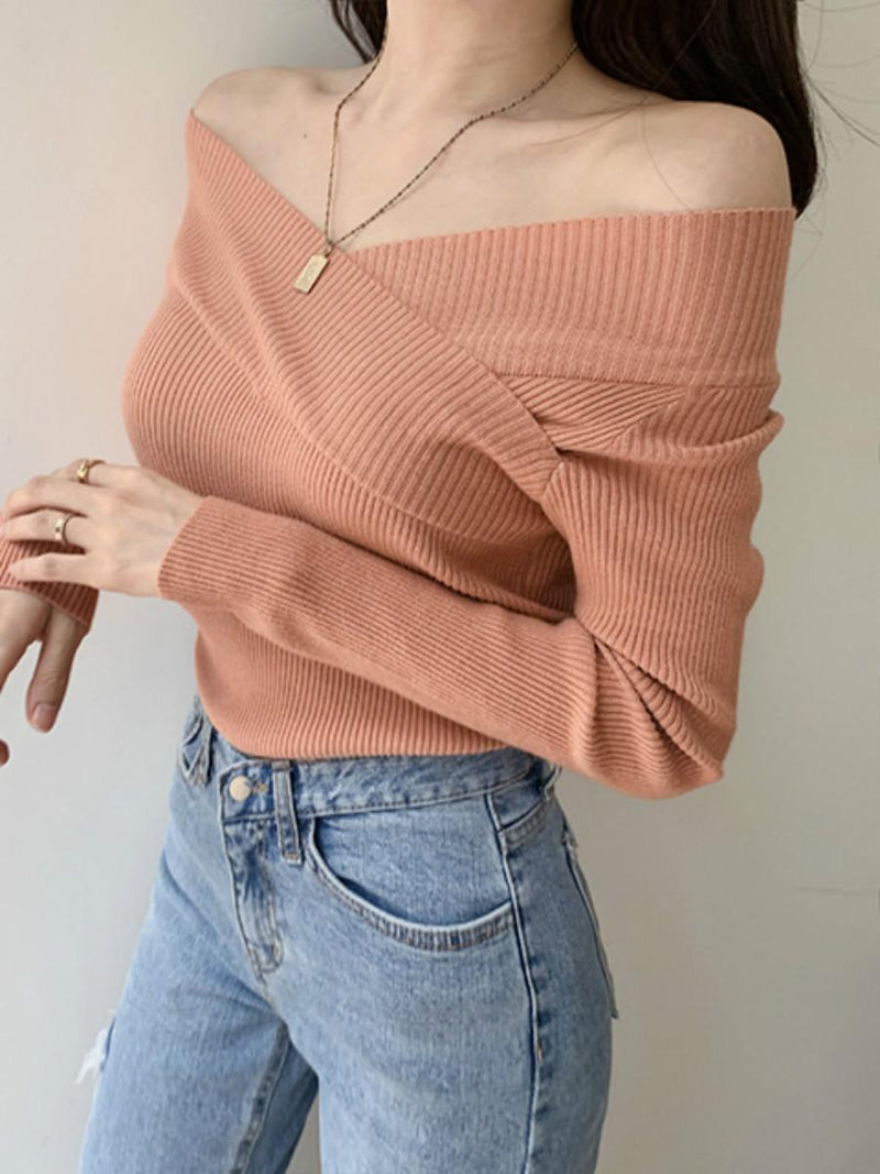 Solid Color V Neck Long Sleeves Women's Knitwear