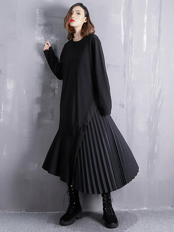 Spring long-sleeved patchwork ruffled pleated dress