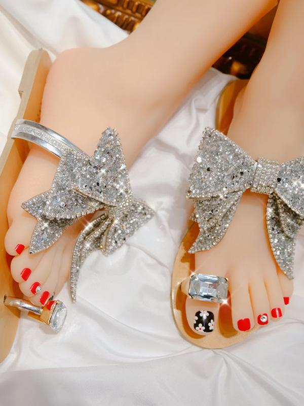 Women's Rhinestone Oversized Bow Sandals