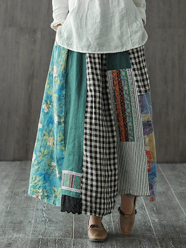 Printed Linen Retro Literary Loose Contrast Stitching Skirt