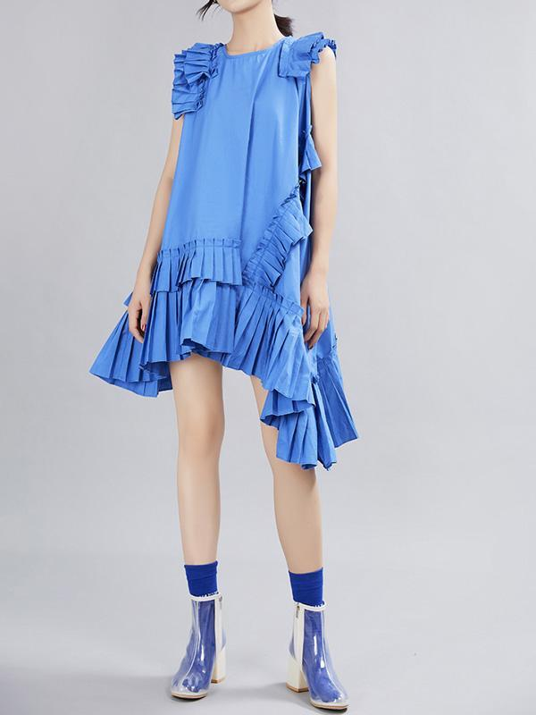 Irregular Pleated A-line Big Swing Small Sleeve Dress
