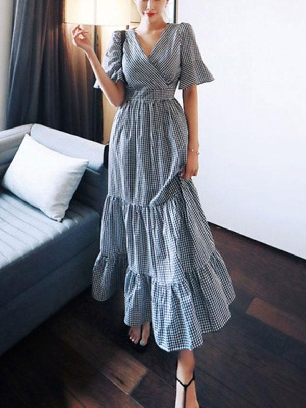 Plaid V Neck High Waist Women's Maxi Dress