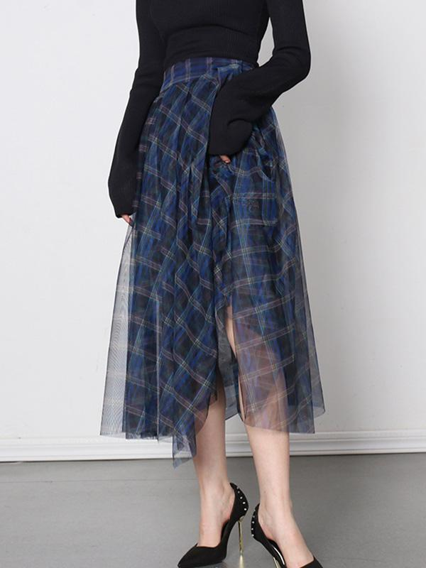 High-waist Blue Check Mesh Skirt