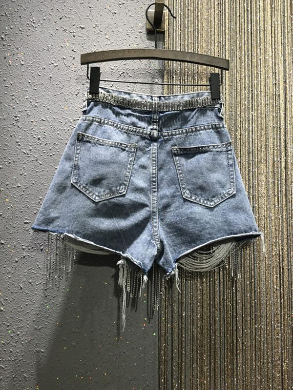 Shredded High Waist Fringed Slim Denim Shorts