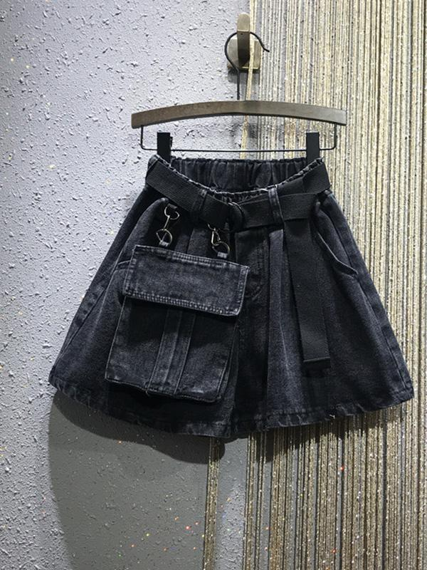 Casual Loose Large Pocket Denim Shorts