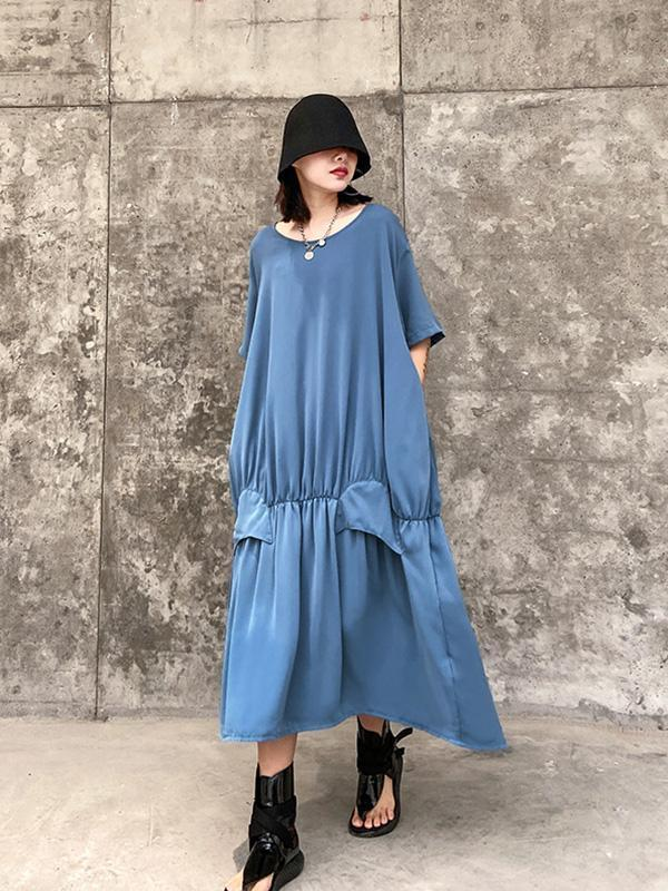 French Plus Size Chiffon Dress
