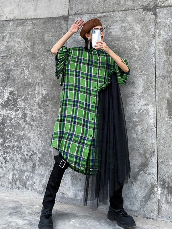 Plaid Shirt Mesh Splicing Dress