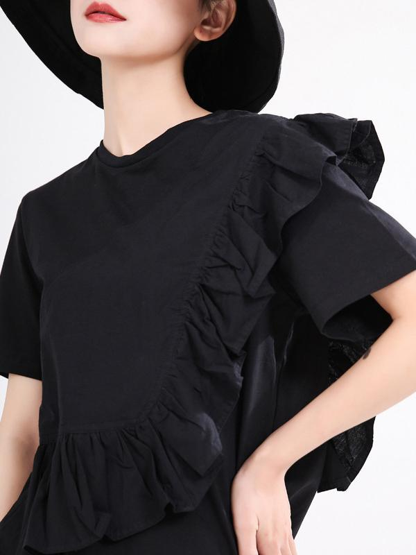 Ruffled solid color short-sleeved T-shirt