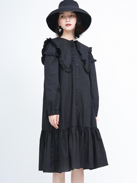 Ruffled Mid-length Long Sleeves Women's Dress