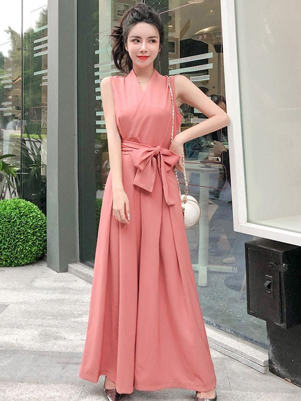 Sleeveless V Neck Bow Women's Jumpsuit
